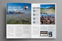 Sample spread from the Silver Fern Holidays holiday brochure