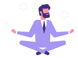 Man hovering and meditating in the lotus position